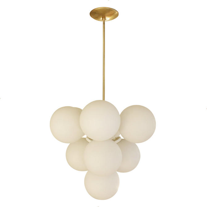 Sculptural Chandelier in Brass with White Glass Globes 1960s