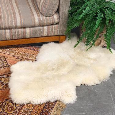 Vintage Sheepskin 1970s Retro Size 46x35 Bohemian + Animal Fur + Accent Rug + White + Shag or Furry Carpet + Boho Home and Floor Decor by RetrospectVintage215