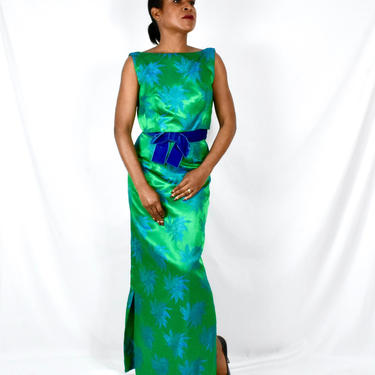 Vintage 1960s Bright Green and Blue Silk Brocade Wiggle Dress - Floor Length Gown by Estevez by LavenderJosephine