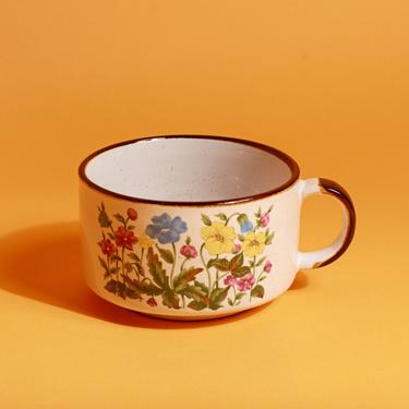 80s Ceramic Beige Brown Colorful Flower Soup Mug Cup by AppleBranchesVintage