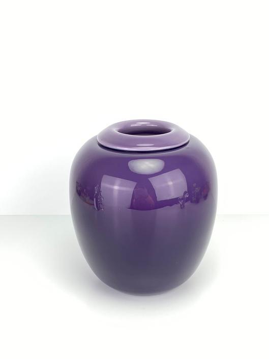 Vintage Larry Laslo Mikasa Japan Handblown Art Glass Vase Rolled Rim Plum by HouseofVintageOnline
