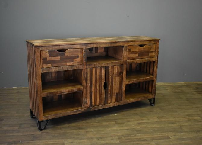 Farmhouse Rustic Solid wood 70 inch Media Console / Sideboard with 2-drawers and 2-doors by RusticShop1