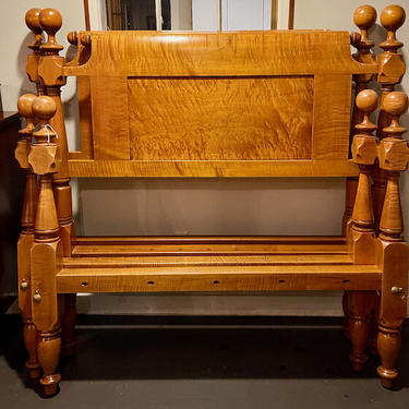 Pair of Ball & Block Beds in Maple, Circa 1820