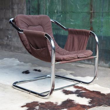Post Modern Milo Baughman Jerry Johnson Style 70s Chrome Sling Chair Mid Century Modern style accent lounge chair MCM Brown 1970s Reading by CatchMyDriftVintage