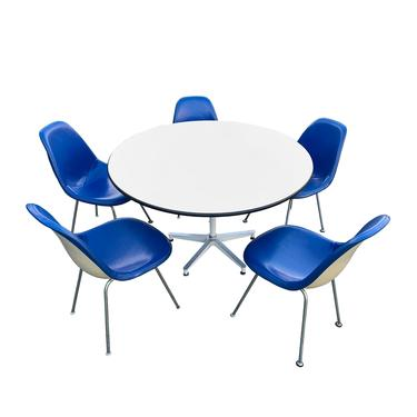 Charles Eames Blue Herman Miller Shell Chairs and Early Eames 650 Table by TheModernHistoric