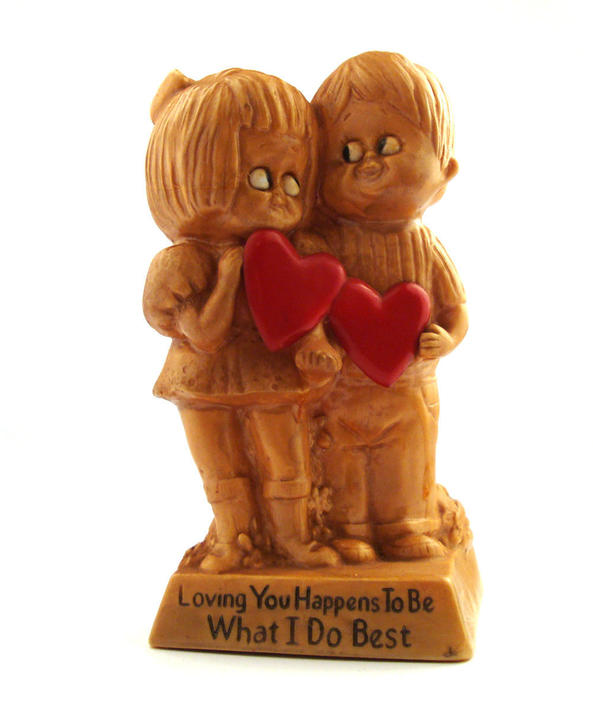 Vintage 1970s figurine Russ and Wallace Berrie Loving you Plastic statue by purevintageclothing