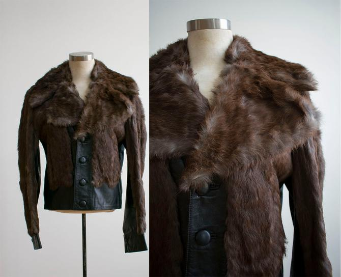 1960s Leather and Fur Jacket / Cropped Fur Coat / Cropped Leather Jacket / 1960s Moto Jacket / 1960s Fur Jacket / Rocker Jacket / Glam by milkandice