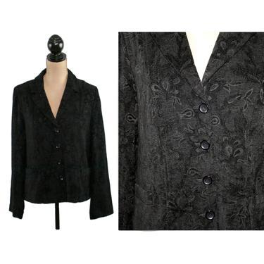 Y2K Black Blazer Women Large, Tapestry Chenille Jacket, Bohemian Hippie Boho, Floral Tone on Tone, Casual Clothes Vintage Clothing by MagpieandOtis