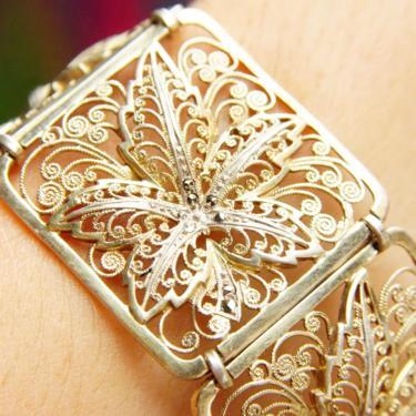 "Vintage Sterling Silver Filigree & Marcasite Link Bracelet, Intricate Wire Designs, Square Panel Bracelet, Floral Swirl Designs, 7 3/4"" Long by shopGoodsVintage"