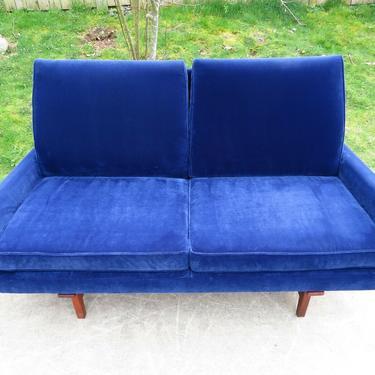 JENS RISOM 2 Seater SOFA COUCH Blue Velvet MID CENTURY MODERN Vtg lounge chair