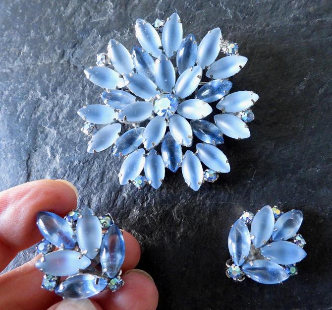 Blue Open Set Poured Glass Brooch and Earrings by LegendaryBeast