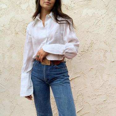 Vintage 70's Benlee White Textured Button Up Blouse by CottontailTrdPost