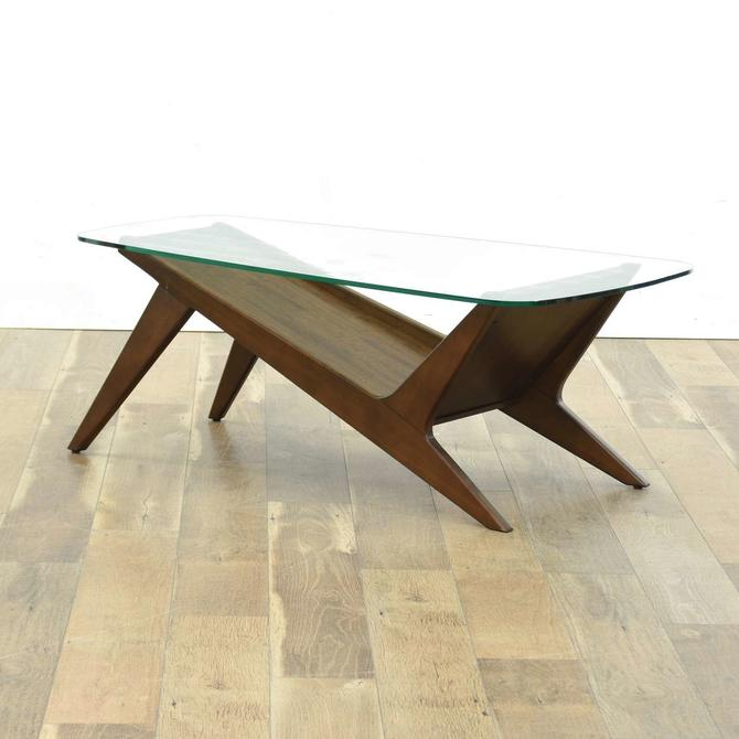 Mid Century Modern Slope Design Coffee Table W Glass