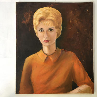 "60's Oil Portrait Of Woman, Blonde Woman With Bubble Cut, Mid Century Portrait, 1962 Debra Johnson, 20-1/2""x24"" by luckduck"
