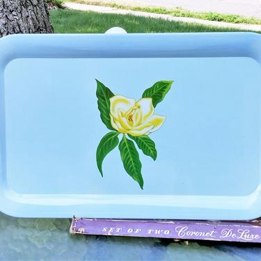 VINTAGE Metal Serving Trays// Retro TV/Serving Trays// Shabby Chic Trays// Mid Century Modern Bed/Lap Tray (Set of  4)) by 3GirlsAntiques