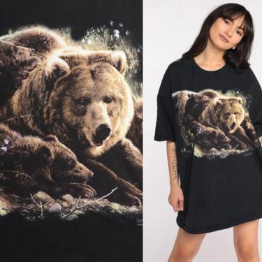 Grizzly Bear Shirt 90s Animal TShirt Vintage Retro Graphic Shirt Screen Print 1990s t shirt Black Wildlife Tee Large xl l by ShopExile