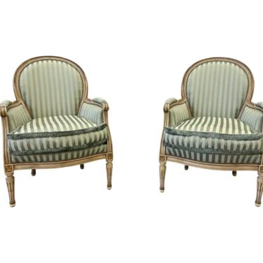 Pair of Louis XVI Style Upholstered Arm Chairs - Early 20th C