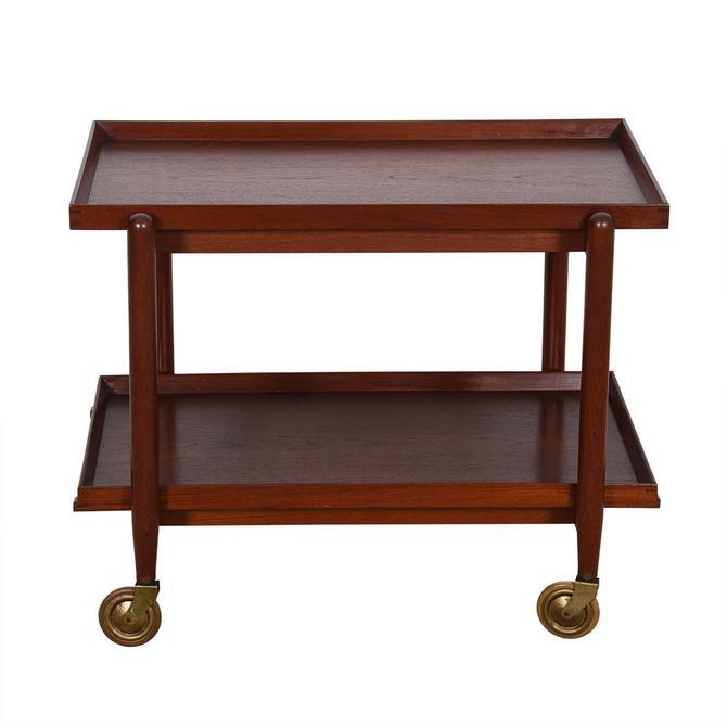 Early Danish Teak Expanding Bar Cart w/ Removable Trays