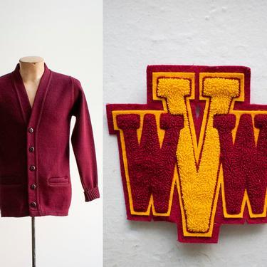 Vintage Letterman Sweater / Vintage Varsity Cardigan / Knit Cardigan Sweater / Vintage Collegiate Knit Sweater / Letterman Cardigan Sweater by milkandice