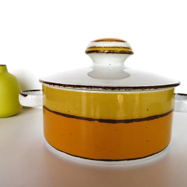 Stonehenge Midwinter Sun Covered Casserole, Yellow And Orange Stoneware Covered Soup Tureen From England by HerVintageCrush