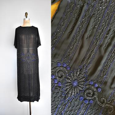 Frances chiffon beaded 1920s dress, 20s flapper silk dress, flapper dress by ErstwhileStyle