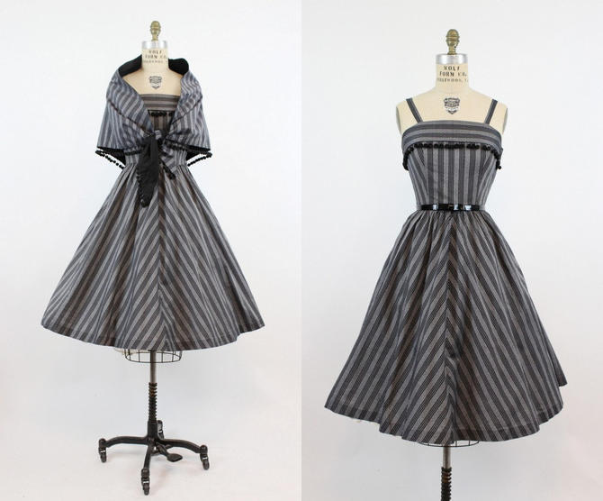 1950s striped sun dress with scarf xs | vintage cotton full skirt | new in by CrushVintage