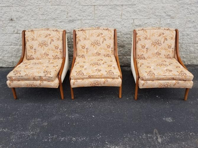 Gorgeous Vintage Set of 3 Custom Designed Lacquered Walnut Framed Low Profile Club Chairs by Stand-Built Upholstery Corp