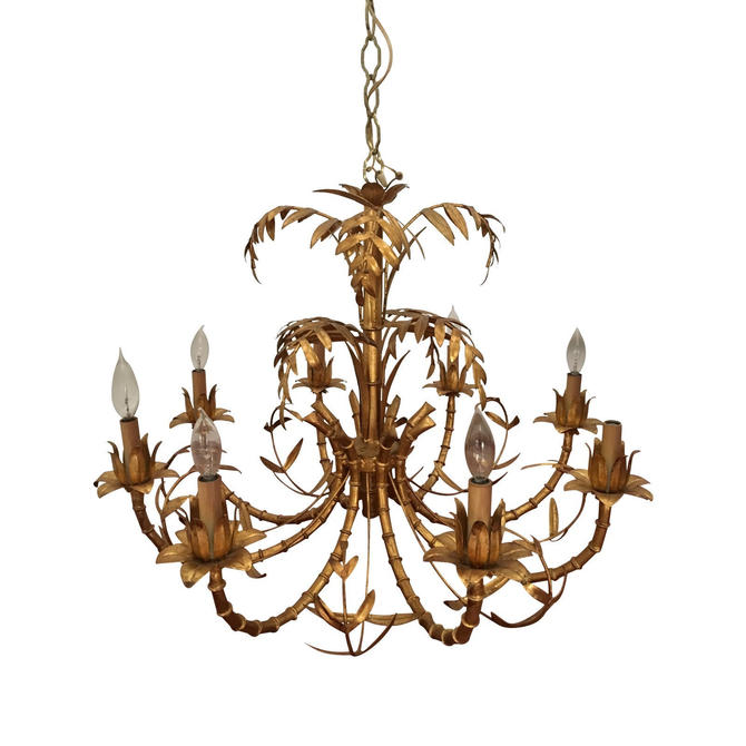 Vintage Faux Bamboo Gilt Chandelier Hollywood Regency - LOCAL pick up only by PursuingVintage1