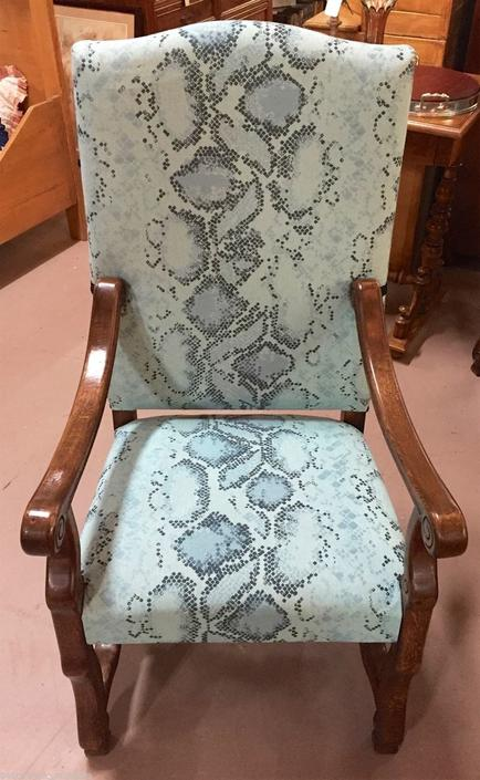 Carved Arm/Dining Chairs w/Blue Serpentine Upholstery (pair)