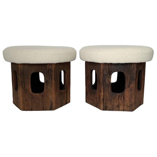 Pair Rustic Wood Footstools