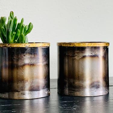 Small Metal Planter | Gunmetal Planter | Houseplant | Herb Planter | Cactus Planter | Desk Planter | Indoor Planter | Galvanized | Gold by PiccadillyPrairie