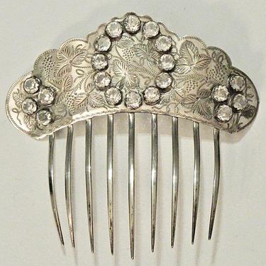Victorian Grapevine & Crystals Sterling Silver Hair Comb, Quartz Cabochon Comb, Antique Silver Comb, Bridal Comb, Quartz Jewelry by CombAgain