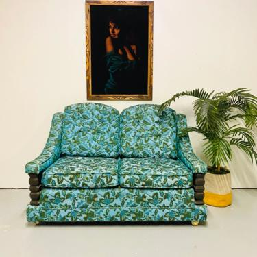 Mid Century Turquoise Floral Loveseat, MCM Hollywood Regency Two Seater Sofa, Boho Turquoise Couch, Vintage Loveseat by VivaLaVintagedotTX
