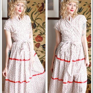 1940s Set // Roses are Red 2pc Cotton Blouse & Skirt // vintage 40s dress set by dethrosevintage