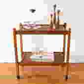 Mid Century Modern Danish Teak Bar Serving Cart