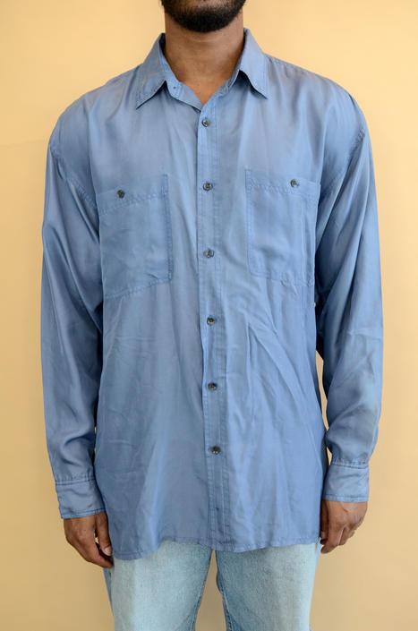 Vintage Silk Blue Long Sleeve Button Down Shirt Large Medium Unisex by MAWSUPPLY