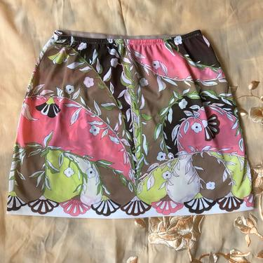 60s EMILIO PUCCI psychedelic print Formfit Rogers mini skirt slip / 1960s vintage EPFR signed skirt sz M by ritualvintage
