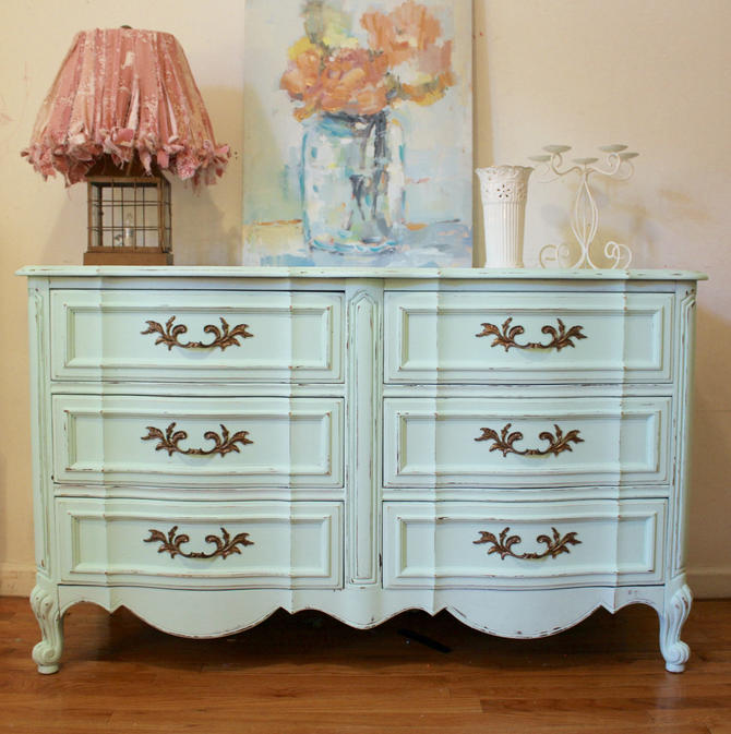 Shabby Chic Dresser French Provincial Mint Green Distressed