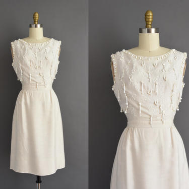1950s vintage dress | Gorgeous Eggshell White Beaded Cocktail Party Pencil Skirt Wedding Dress | Small | 50s dress by simplicityisbliss