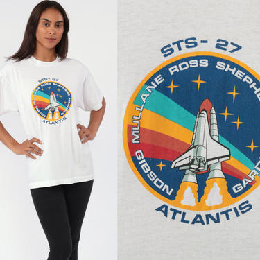 Atlantis Space Shuttle Shirt 80s NASA Rainbow 1985 Spaceship T Shirt Vintage Galaxy Tshirt Graphic Tee Astronaut Outer Extra Large xl l by ShopExile