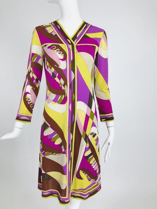 Vintage Emilio Pucci Silk Jersey Print Long Sleeve Day Dress 1960s