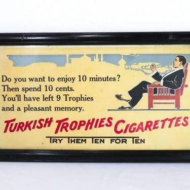 Vtg TURKISH TROPHIES 21x11 CARDBOARD SIGN Cigarette Ad Cigar TOBACCO ART Deco