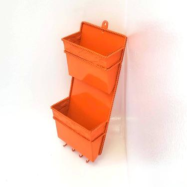 Metal Mail Holder Key Hook Orange Wall Sorter Rack Organizer Office File Letter Valet Phone Storage MCM Shelf Filing System Home Business by MakingMidCenturyMod