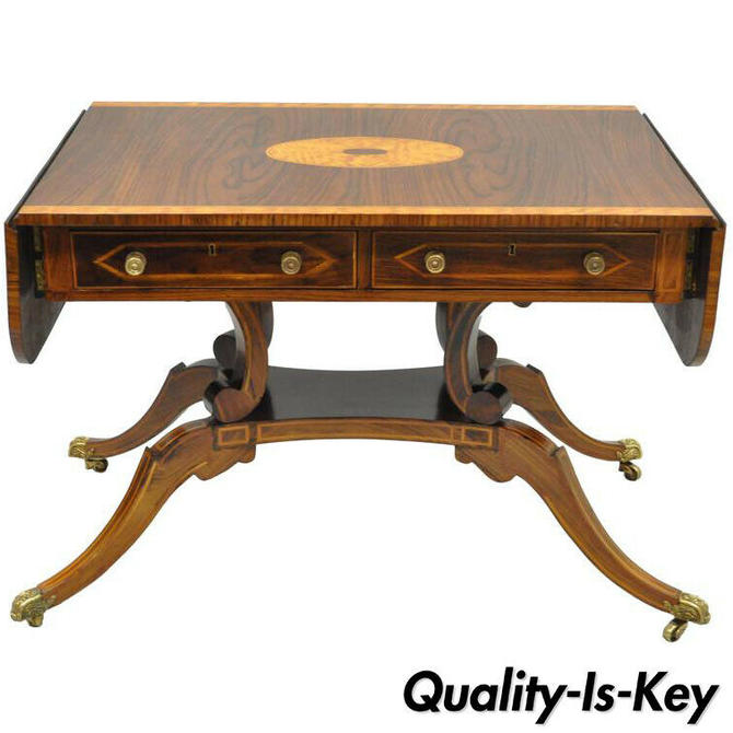 Regency Drop Leaf Mahogany & Rosewood Console Sofa Table Attr. to Maitland Smith