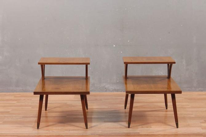 Mid Century Walnut Stepback Side Table