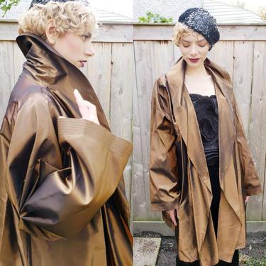 1990s Metallic Brown Duster Jacket / 90s Shiny Copper Silk Light Evening Coat Oversized Plus Size Vintage Pamela Dennis NY / Sylvie by RareJuleVintage