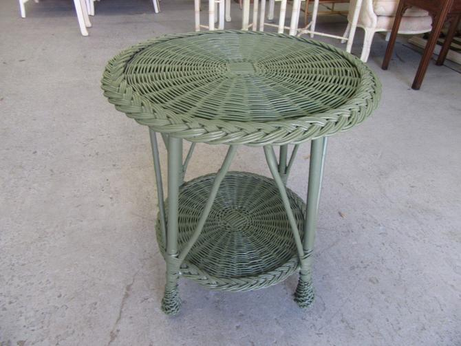 Round Wicker Occasional Table