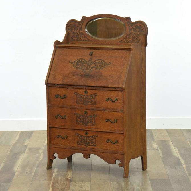 Antique French Provincial Secretary Desk  W Mirror