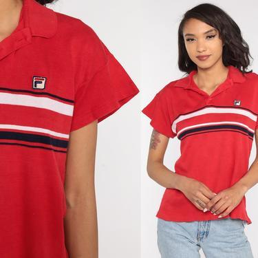 Fila Shirt Streetwear Shirt 90s Red Polo Shirt Sports Athletic Shirt Short Sleeve Retro Street Wear 1990s Vintage Medium Large by ShopExile