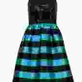 Leifsdottier - Black Sequin & Turquoise Striped Cocktail Dress Sz 0